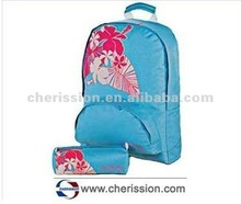600d school bag with pencil bag for teenager