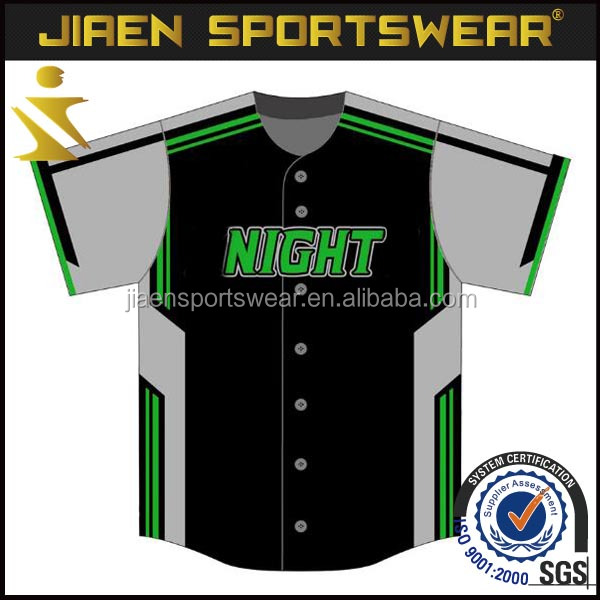 Embroidered baseball jersey team player baseball jerey with piping