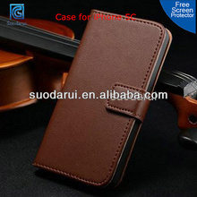 Free Screen Protector, Two Credit Card Slots Wallet Leather Case Cover with Stand for iPhone 5C