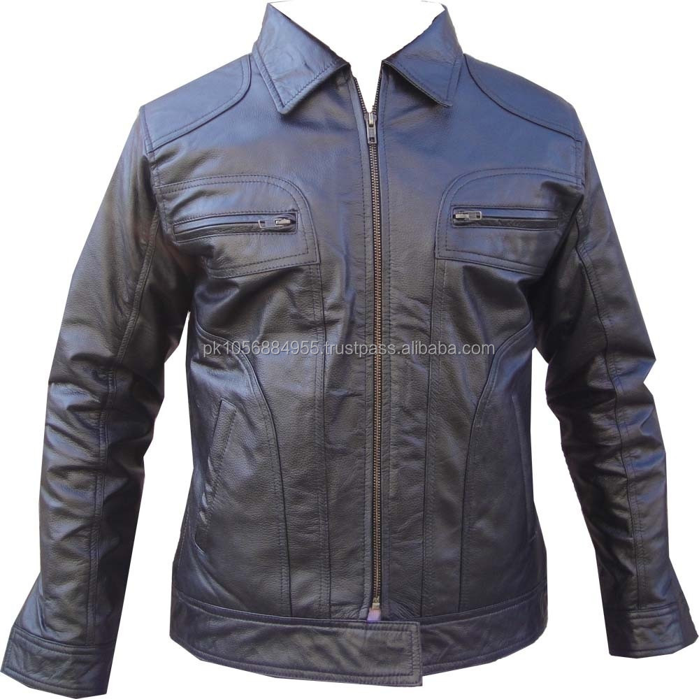 Maunfacturer Ladies' and men s all colors fashion leather jacket with patch on sleeves Pakistan Sialkot