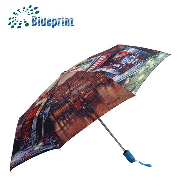 Cm Diameter Custom Print 3 Fold Auto Umbrella
