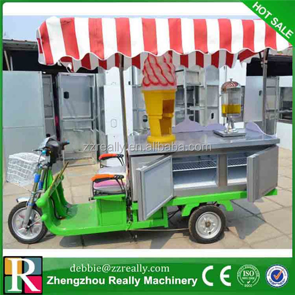 Electric tricycle food cart vending mobile food cart/ice cream vending truck