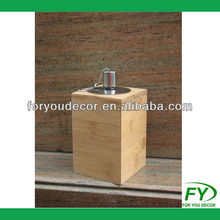 Bamboo party oil lamp with stainless steel tank WT-003-19