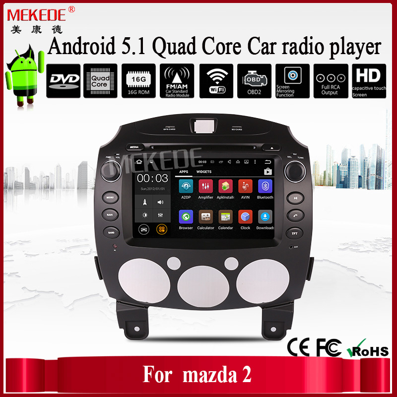 2017 Car multimedia with quad core Built-in Wifi Adapter DVD/GPS/3G/RDS/Bluetooth/Radio for Mazda 2 car audio system