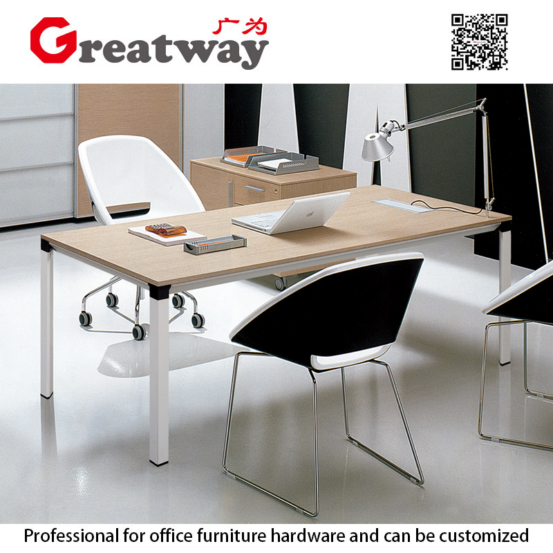 Table wooden top steel frame modern executive desk