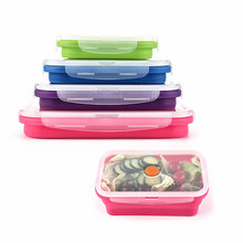 Convenient collapsible rectangle sealed save space 4 pieces set silicone collapsible folding lunch box