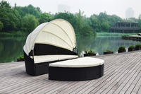 wicker rattan furniture HB41.9013 big round corner sofa bed