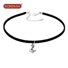 Thin Black Choker With Silver Plated Anchor Pendant For Women