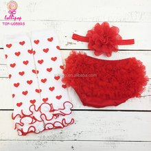 My 1st Valentine's Day Outfits 3PCS Heart Pattern Leg Warmer Valentine Red Ruffle Baby Girls Bloomers And Headband Set