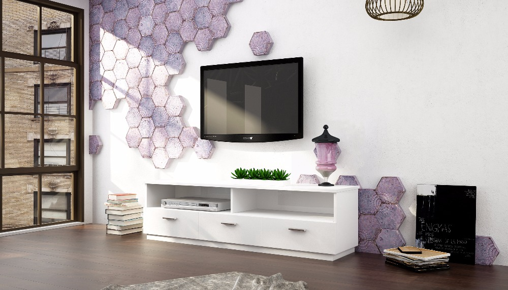Cheep modern white TV stand with three wood drawers