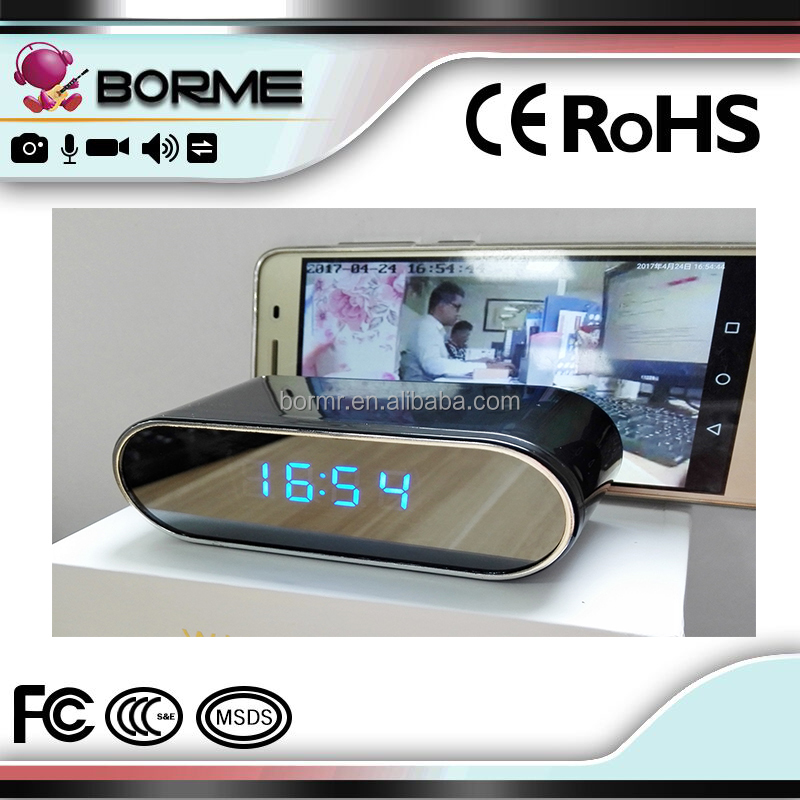 Home Mini Mirror Digital Clock With <strong>Wifi</strong> and Hidden Camera to make real time monitoring