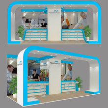 Detian Display offer 10x20 exhibition stand, design 3x6 trade show booth with fabric