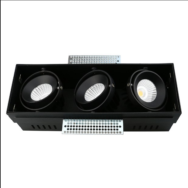 Top quality Cheap Three Heads Embedded Black Aluminum LED Spot Light Manufacturer 5w 43w 276mm 381mm