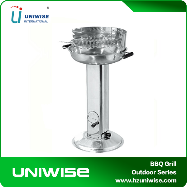 Pedestal Base Vertical Stainless Charcoal Barbecue BBQ Grills For Garden