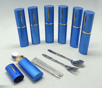 Portable travel cutlery set with a color case