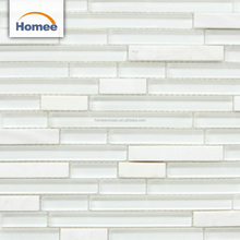 Foshan supplier white strip glass mix stone mosaic for study room wall tiles