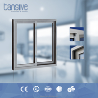 double glazed wood color aluminium sliding window with grids