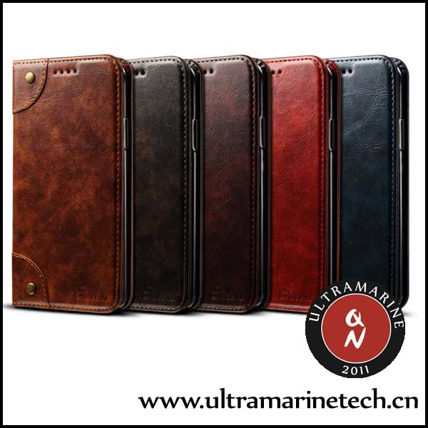 Ultramarine Classical Calfskin Leather Old Book Business Flip Wallet Stand Retro Case For iPhone 6 6S Plus
