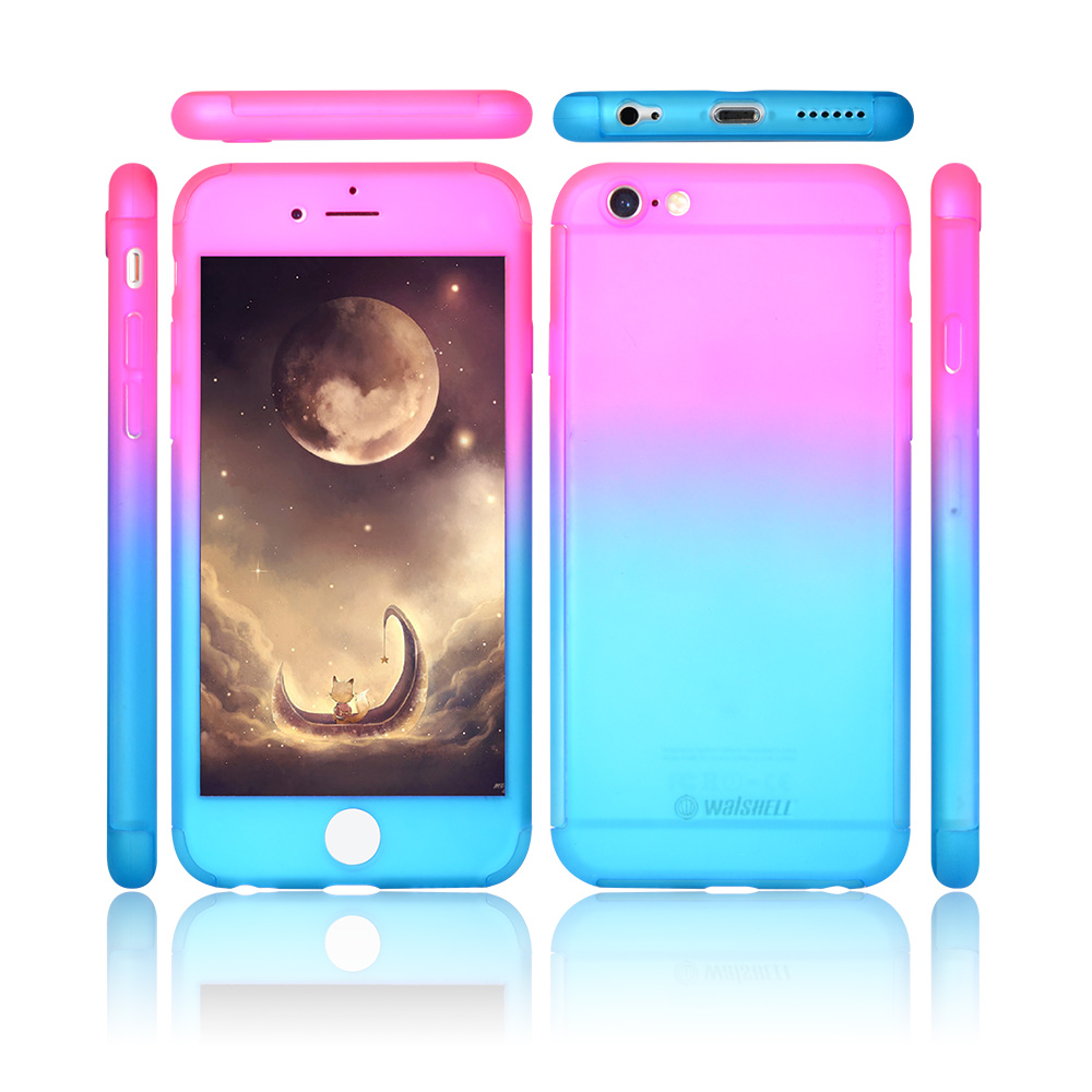Gradient color PC frame 360 degree protective shell phone cover case for iphone 7 7 plus