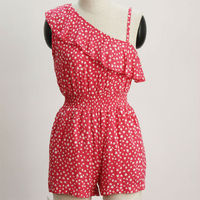 fashionable one shoulder pink printed jumpsuits for ladies