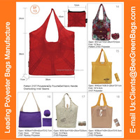 210T Polyester cheap wholesale reusable shopping bags with zipper pouch