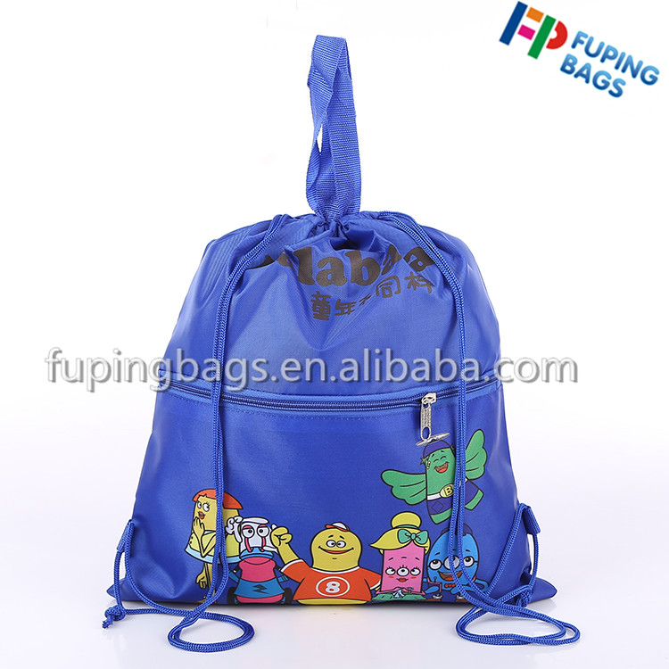 Hot selling colorful polyester drawstring backpack bag for camping and hiking