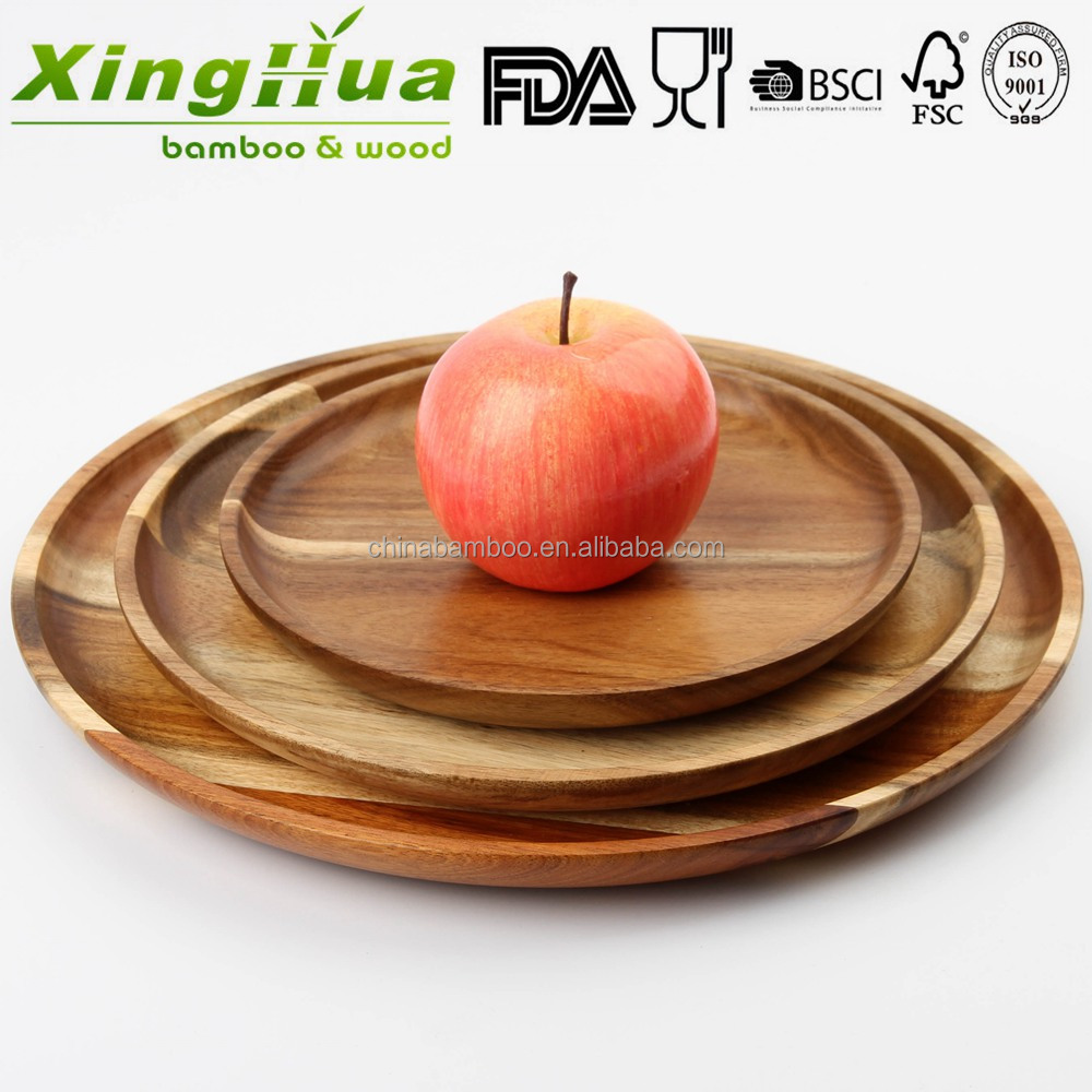 cheap breakfast round acacia wooden plate, serving fruit plates, food serving platter