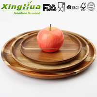 cheap breakfast round acacia wooden plate, serving fruit plate, food serving platter