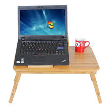 Portable bed wooden adjustable bamboo folding laptop table