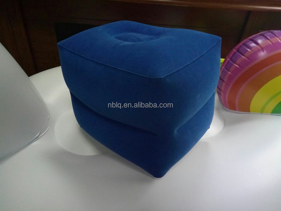 Flocking PVC Inflatable Travel Foot rest for Airplane