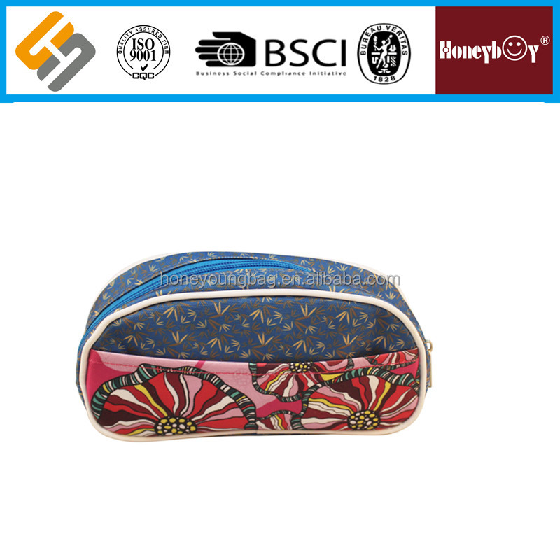 2016 China manufacturer unusual hot-sell oval creative jeans peony pencil case