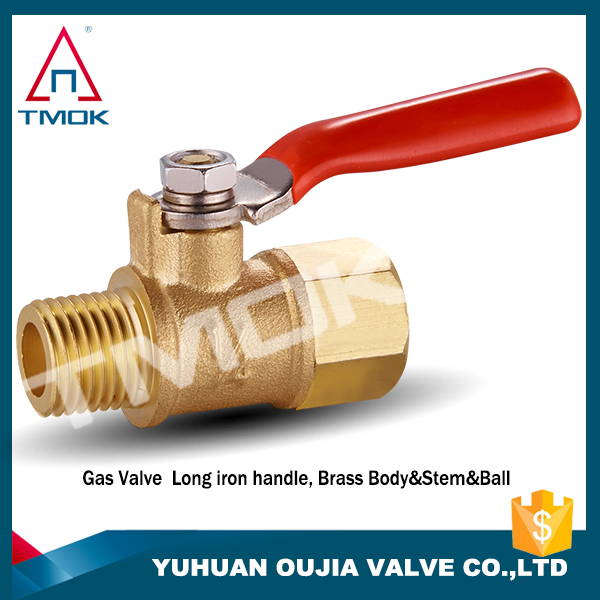 "3/8"" male to female long handle gas-fired ball valve 1/2"" threaded brass ball valve for water coal gas natural gas"