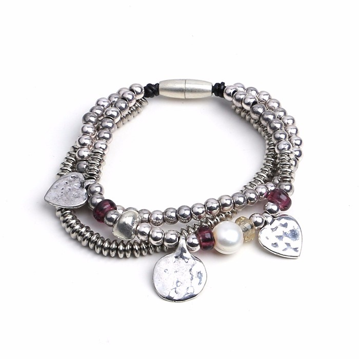 new arrival heart pendant alloy bracelet magnetic leather bracelet