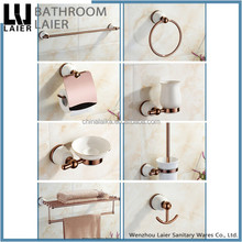 Fancy Decorative Zinc Alloy Rose Gold Finishing Wall-Mounted Bathroom Accessories Set