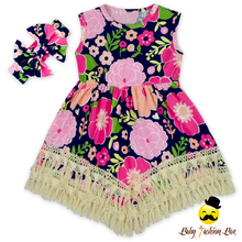 Latest Design Children Summer Sleevless Pink Flower Bodycon Dresses Tassel Baby Girls Dress Designs