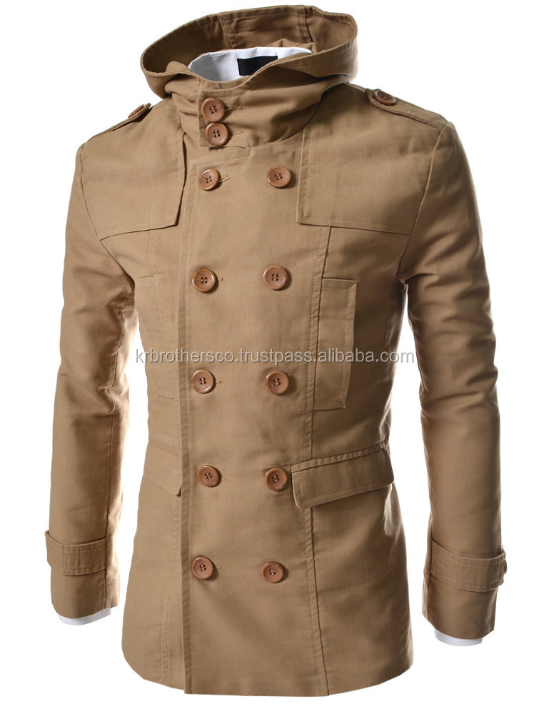 Men casual double Breasted slim cotton hood trench coat Khaki