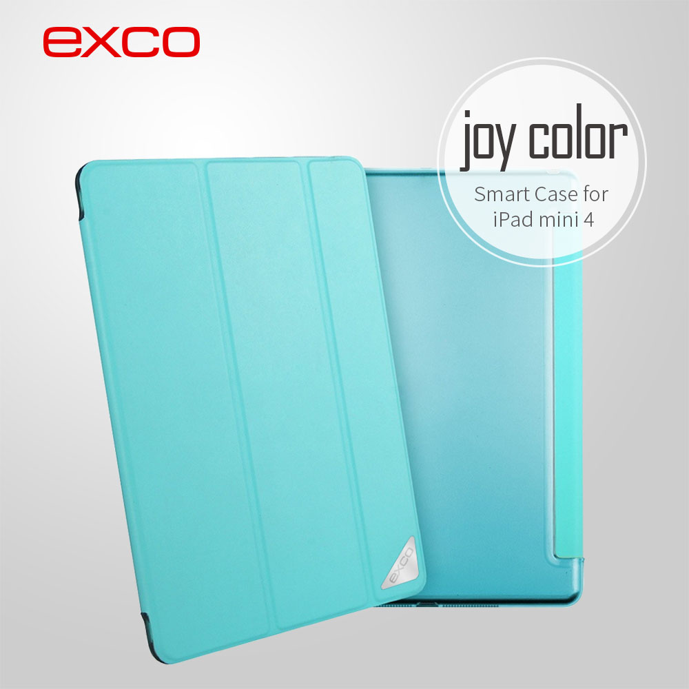 OEM ODM service EXCO Newest fashion magnetic PU colorful flip smart cover for iPad mini 4