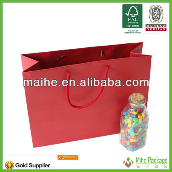 small size 2013 hotsell red color exsiting kraft paper bags wholesale with rope handle