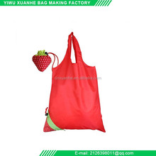 Polyester strawberry themed folding reusable shopping bag