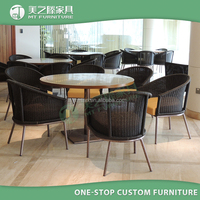 New design outdoor rattan furniture 6 chairs cane dining table chair set