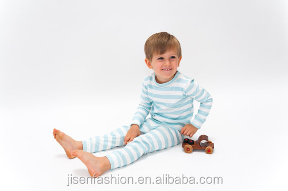 long sleeve minty blue stripe baby toddler pajamas set
