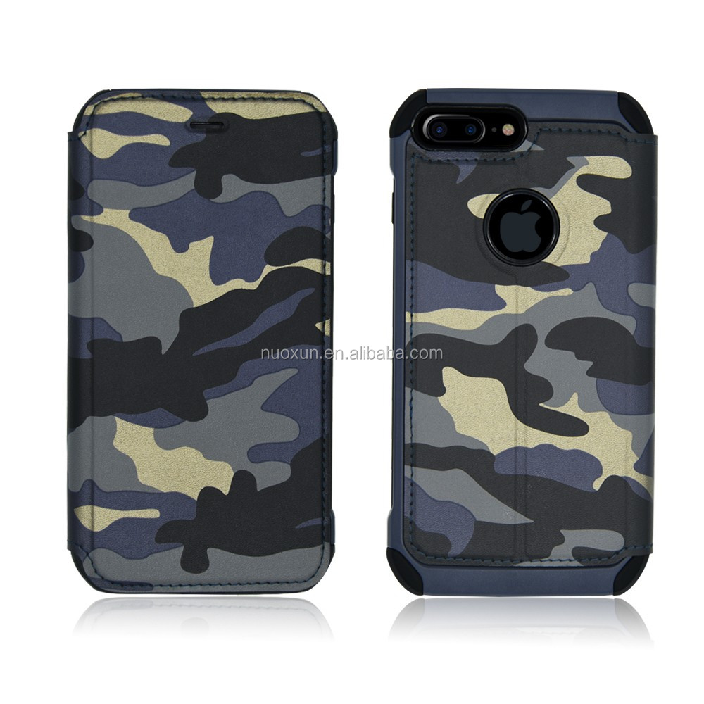 Hot selling camo leather case for i phone7 4.7'' 5.5'' leather mobile stander case