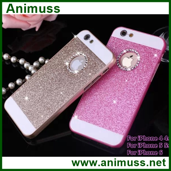 Mobile phone accessories glitter crystal rhinestone bling diamond girls mobile phone case for iphone