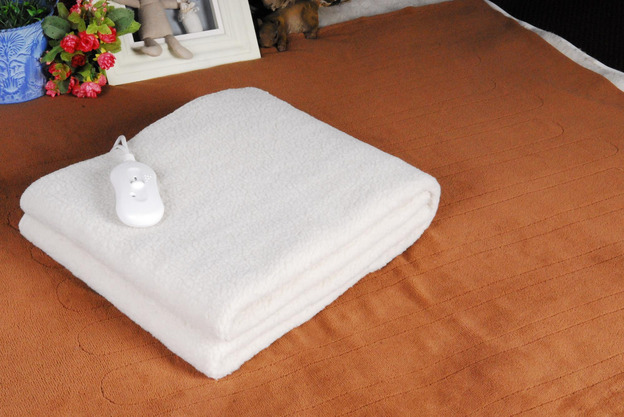 European Market Single Size 150x80cm Synthetic Wool Electric Blanket with CE CB GS ROHS