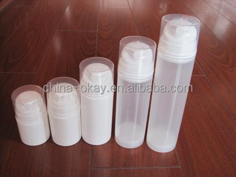 white PP airless pump bottle for shampoo/men cosmetic for skin care plastic