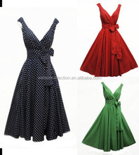 Womens Polka Dot Knot Front V Neck Top Pleated Bodycon Skirt Pin Up Swing Dress