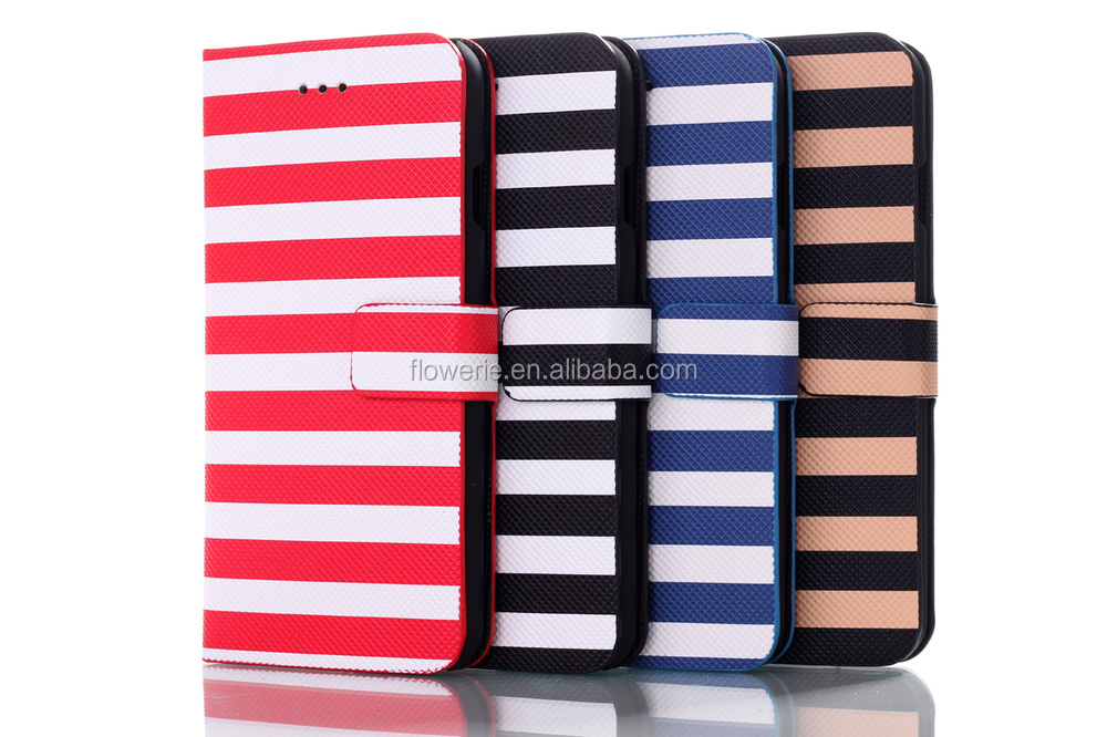 FL2527 Stripes Leather for IPhone 6 Flip Case Stand Wallet
