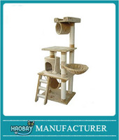 "Haobay Pet Cat Activity Tree 62"" Scratching Post Condo Tower Play House Toy Steps Furniture for Cats and Kittens"