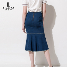 Lady autumn skirts 2017,ladies long denim skirts,high waist women fashion custom skirts
