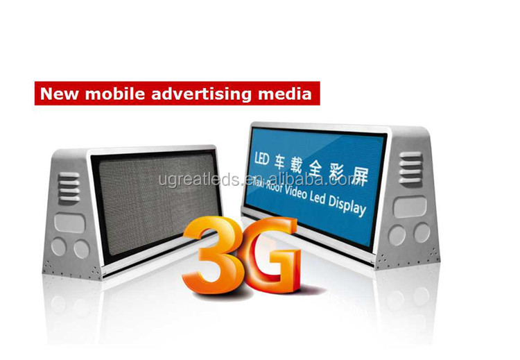 Outdoor Double Side P5 Full Color 3G WIFI Taxi Roof LED Sign/ Car Top Display/Taxi Light Box